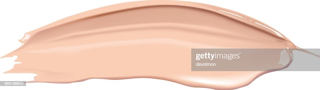 Cosmetic liquid foundation cream smudge smear strokes. Make up smear isolated on white background.