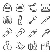 Cosmetic Makeup Vector Line Icon Set. Contains such Icons as Nail Polish, Lipstick Mascara, Eyelash and more. Expanded Stroke