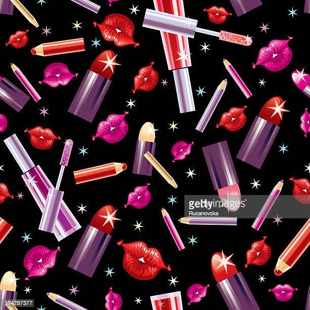 ilustraciones, imágenes clip art, dibujos animados e iconos de stock de patrón de cosméticos (negro - maquillaje para ojos