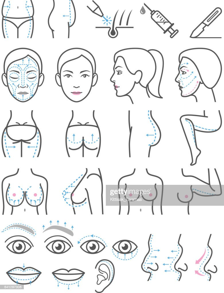 Cosmetic plastic surgery icons.