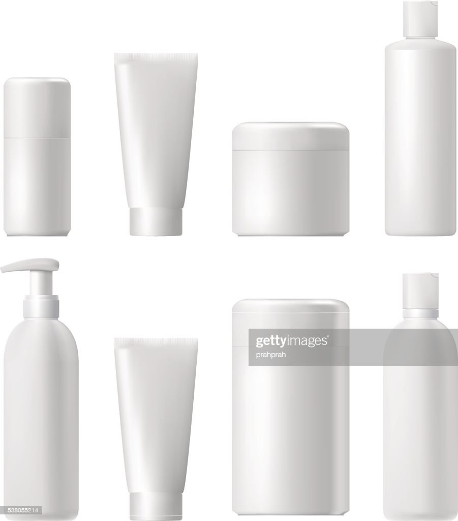 Cosmetic product. Plastic 3d bottle. Bottle template. Mockup.