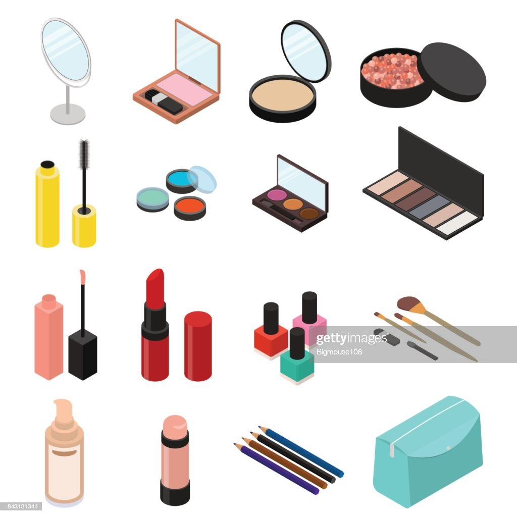 Cosmetic Products Set Isometric View. Vector