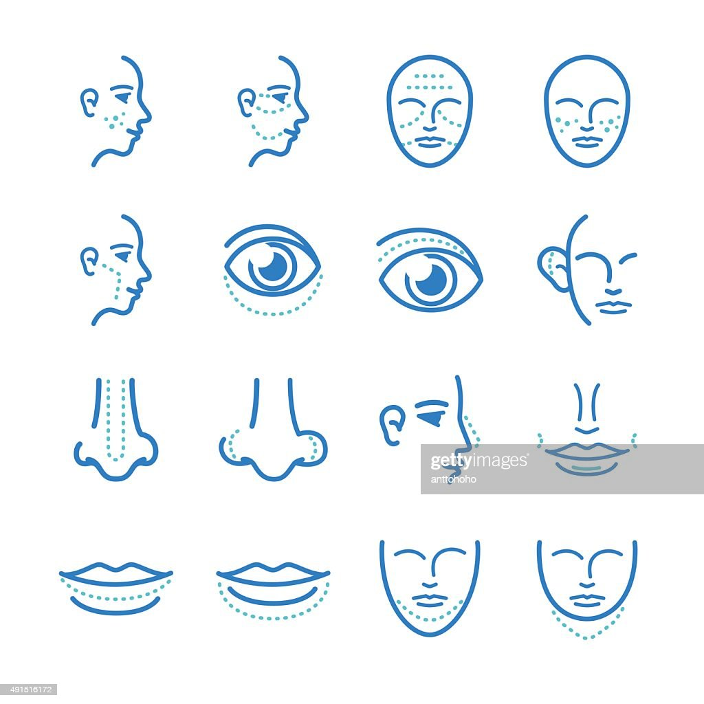 cosmetic surgery icons set