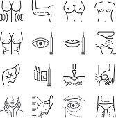 Cosmetic surgery line icon set. Included the icons as liposuction, beauty, marking, skin, Jet Peel and more.