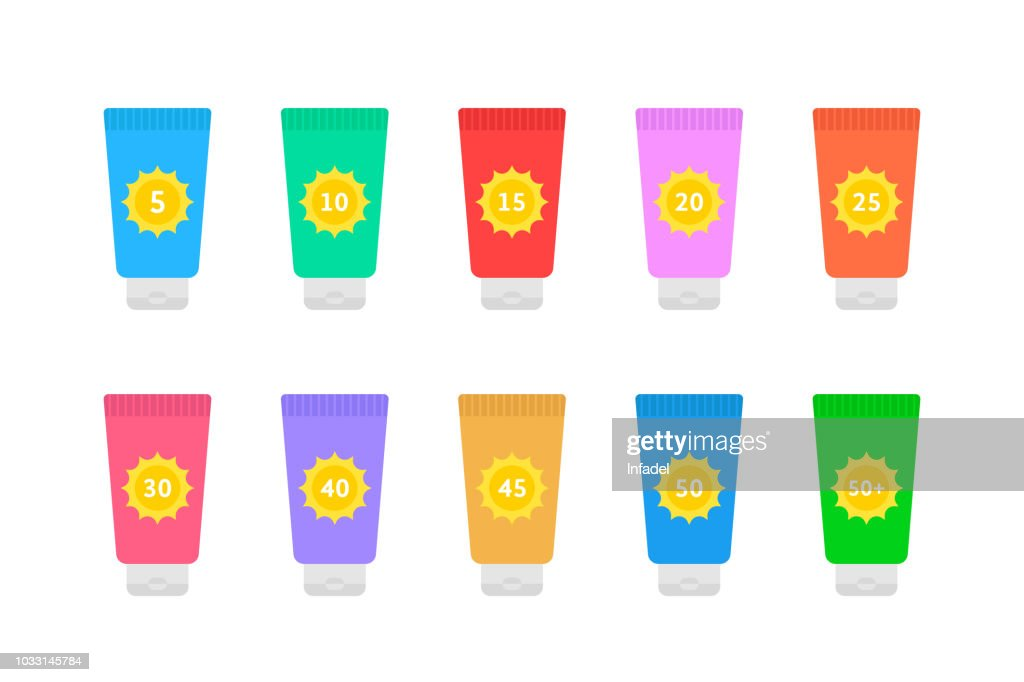 cosmetic tubes of sunscreen with different spf factor