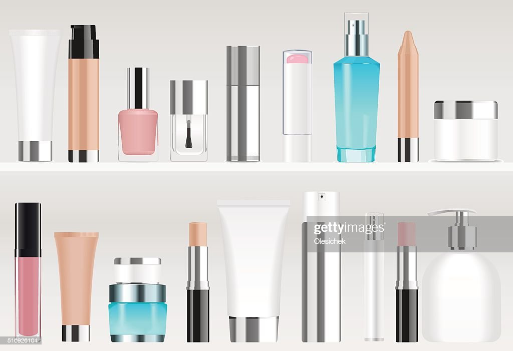 Cosmetic tubes on shelves