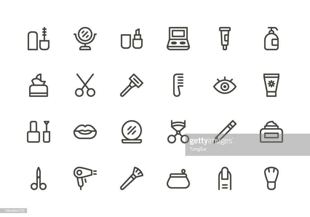 Cosmetics and Beauty - Line Icons : stock illustration