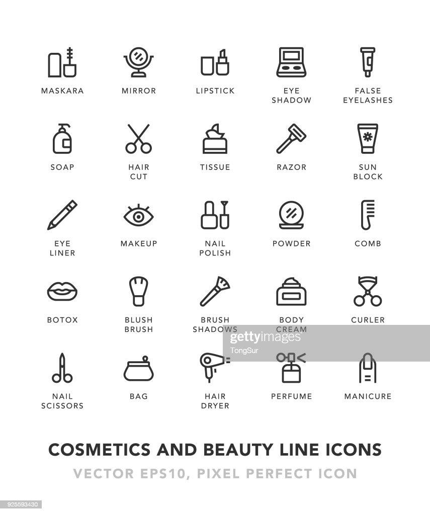 Kosmetik und Beauty Line Icons : Stock-Illustration