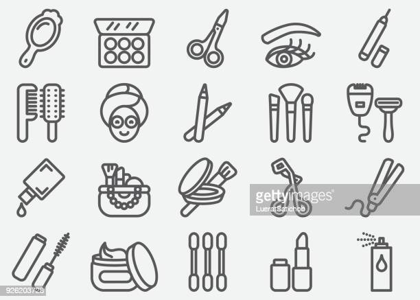 Cosmetics and Beauty Line Icons