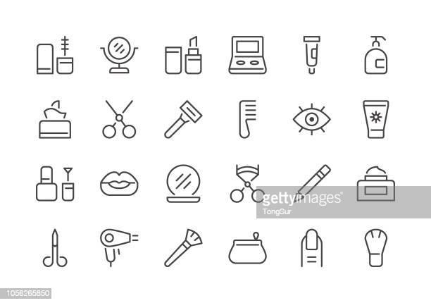 cosmetics and beauty - regular line icons - währung stock illustrations