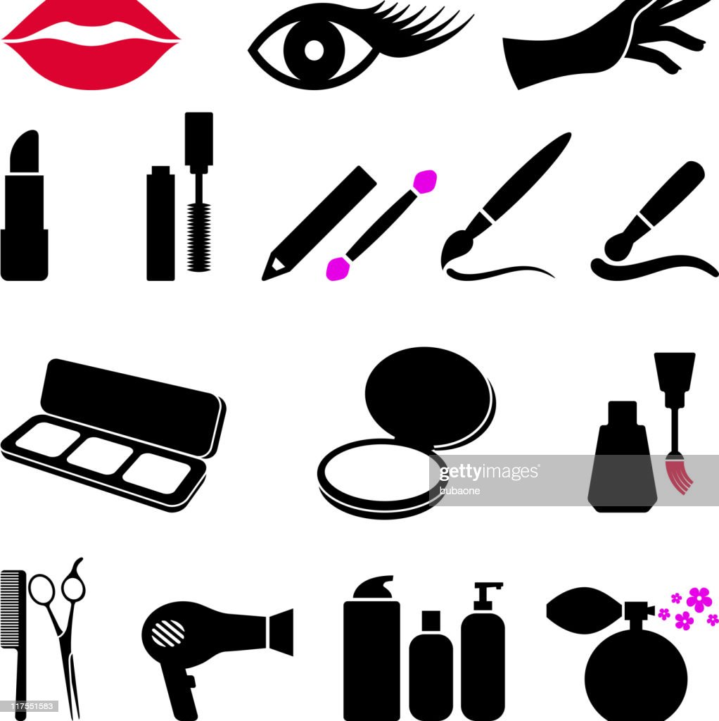 cosmetici e makeup nero bianco icona vettoriale impostato