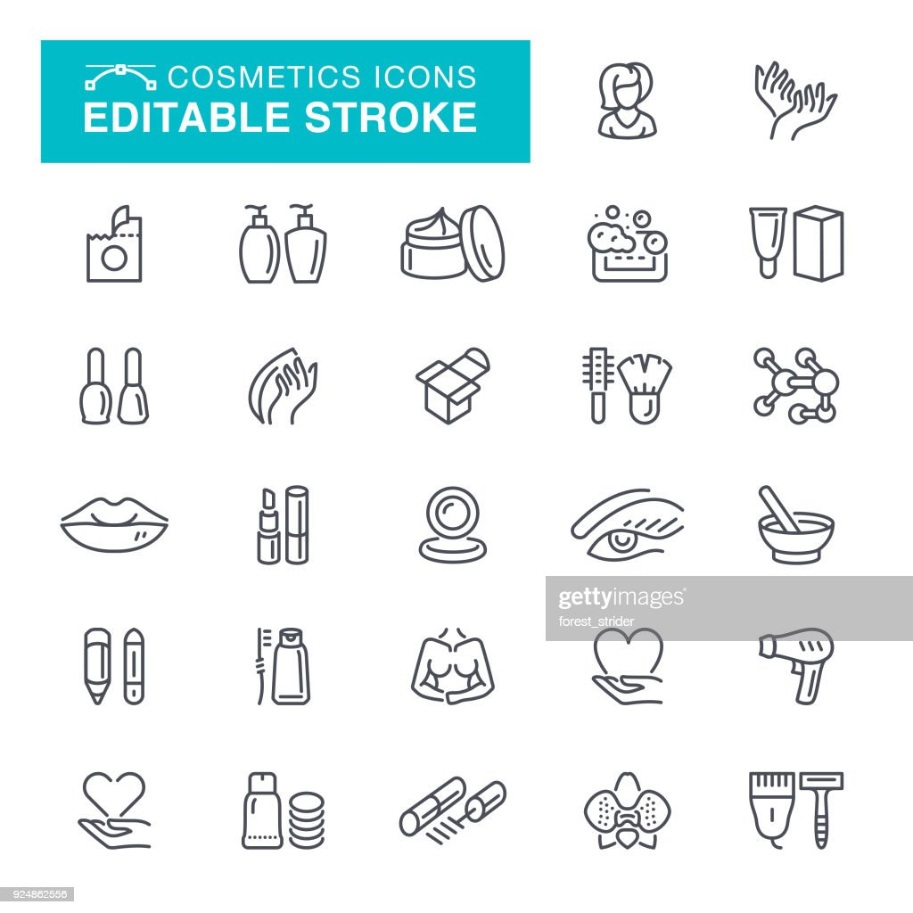Cosmetics Editable Stroke Icons