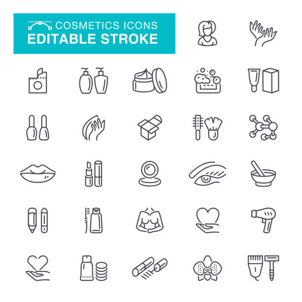 cosmetics editable stroke icons - lips stock illustrations