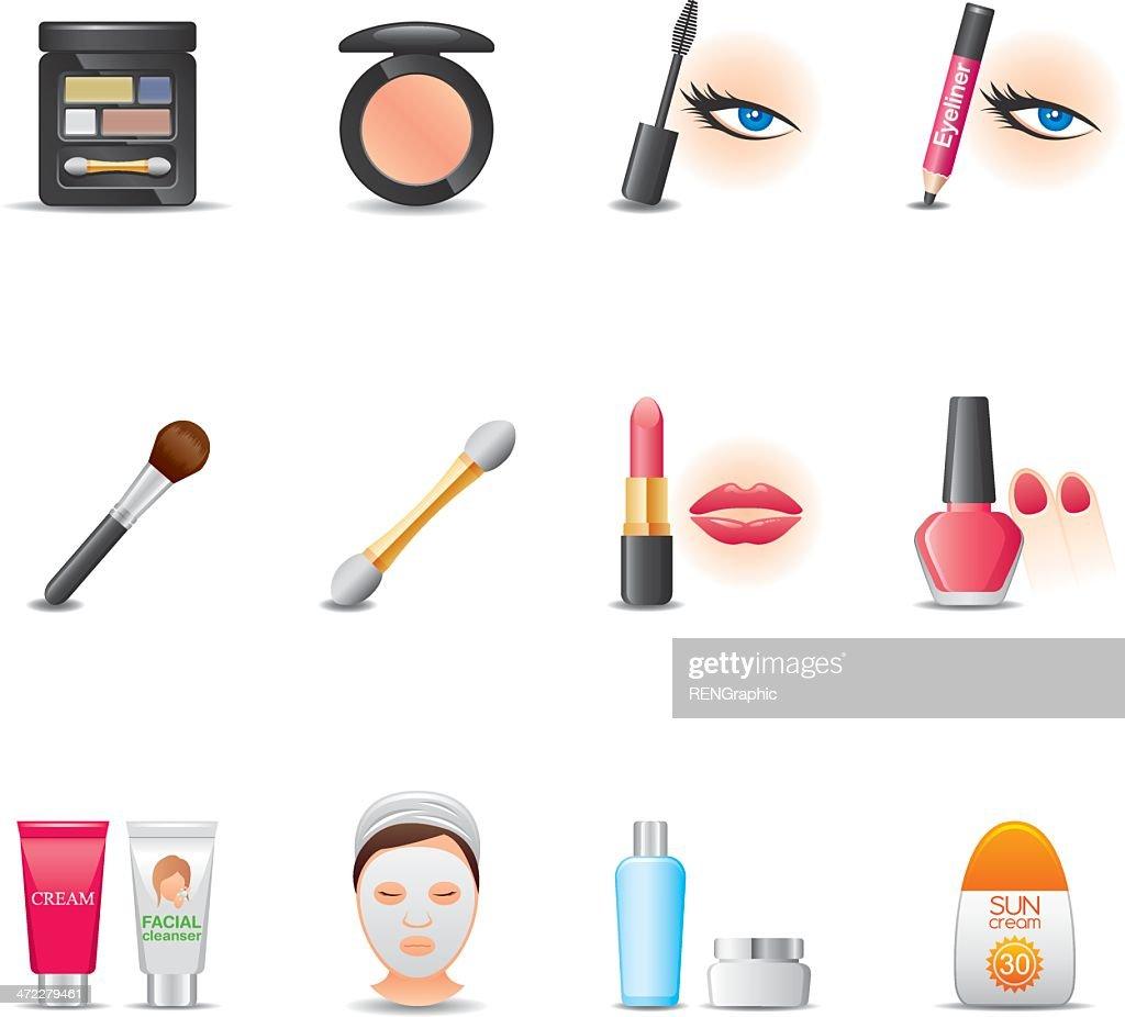 Cosmetics & Face Care Icon Set | Elegant Series