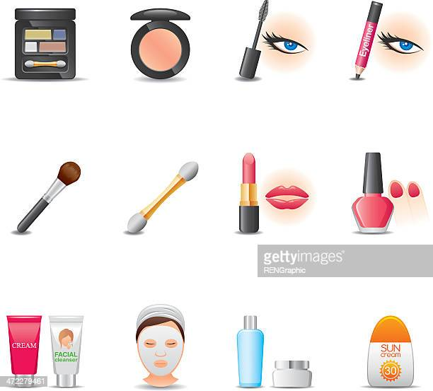 cosmetics & face care icon set | elegant series - lip liner stock illustrations, clip art, cartoons, & icons