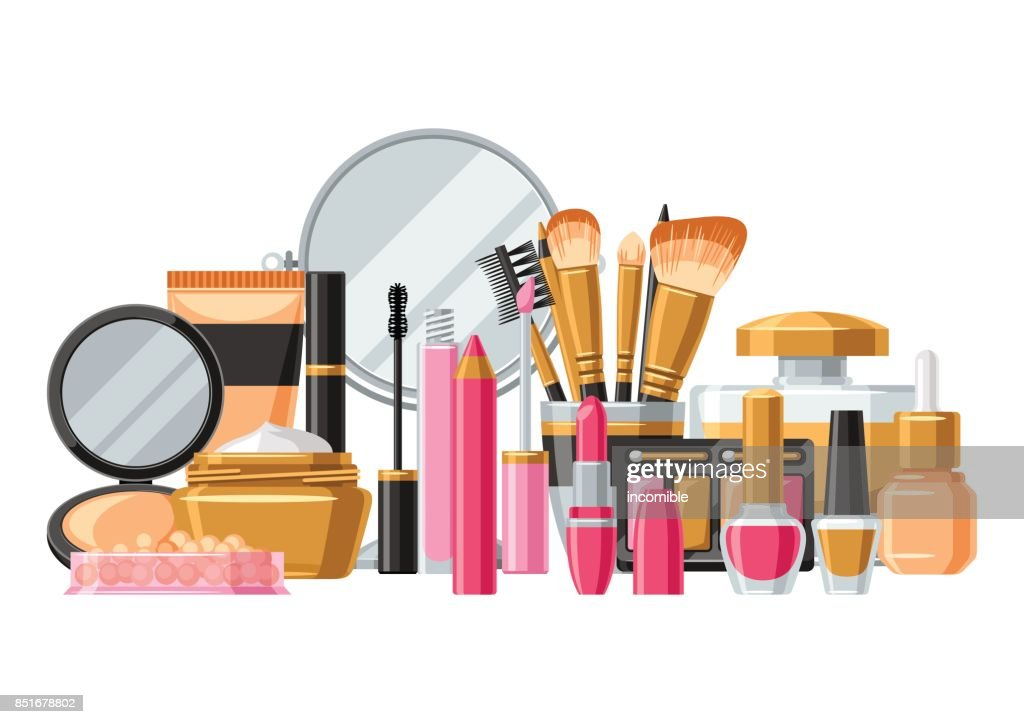 Cosmetics For Skincare And Makeup Banner For Catalog Or Advertising High Res Vector Graphic Getty Images