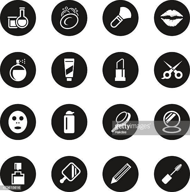 cosmetics icons - black circle series - lip gloss stock illustrations, clip art, cartoons, & icons