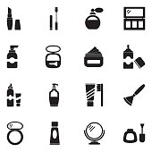 Cosmetics Icons. Black Flat Design. Vector Illustration.