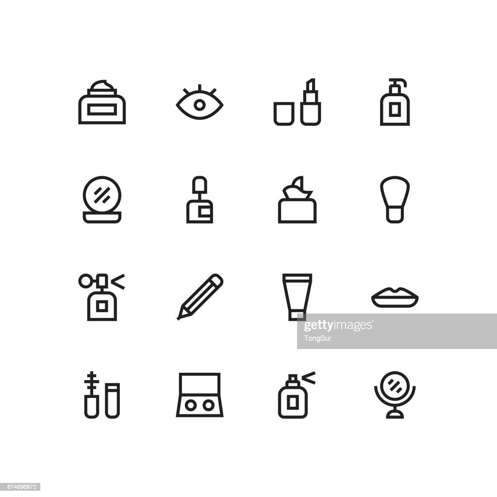Cosmetics Icons - MediumX Line : stock illustration