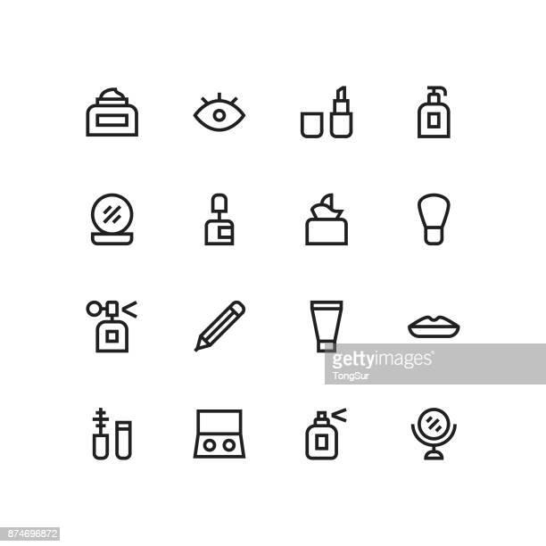 ilustraciones, imágenes clip art, dibujos animados e iconos de stock de iconos de cosméticos - línea mediumx - maquillaje para ojos