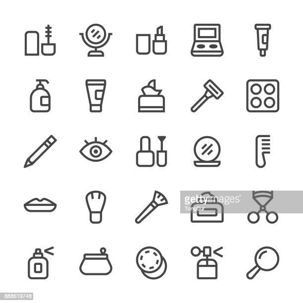 cosmetics icons - mediumx line - beauty stock illustrations