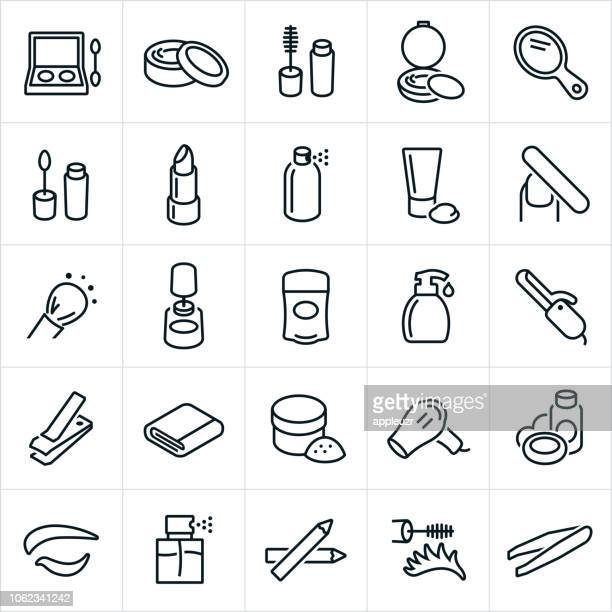 cosmetics icons - body care and beauty stock illustrations