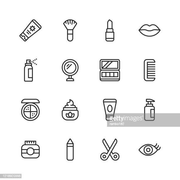 illustrazioni stock, clip art, cartoni animati e icone di tendenza di icone della linea cosmetici. tratto modificabile. pixel perfetto. per dispositivi mobili e web. contiene icone come cosmetici, bellezza, trucco, shampoo, parrucchiere, cura del corpo, igiene, moda, chiodo, barbiere, profumo, rossetto, sopracciglio. - bellezza