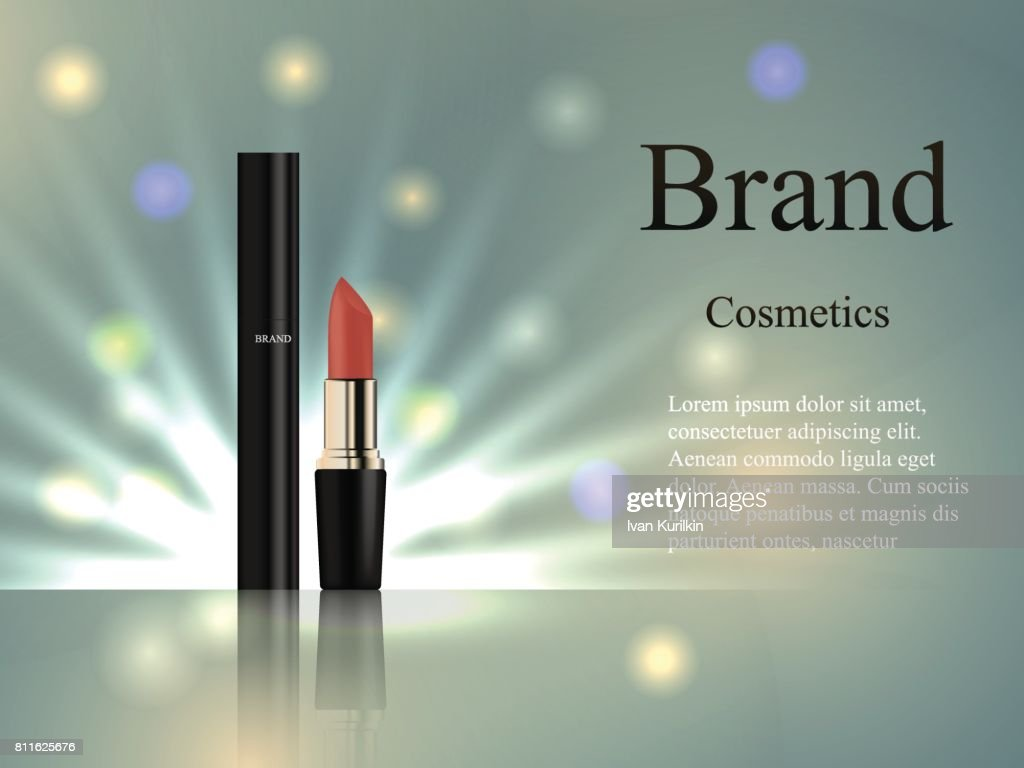 cosmetics mascara and lipstick on a delicate background with rays and spots of light. Design, advertising, banner, vector realistic 3D