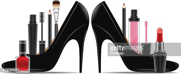 ilustraciones, imágenes clip art, dibujos animados e iconos de stock de conjunto de cosméticos en una mujer de zapato - maquillaje para ojos