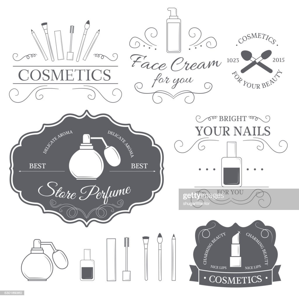 cosmetics set label template of emblem element