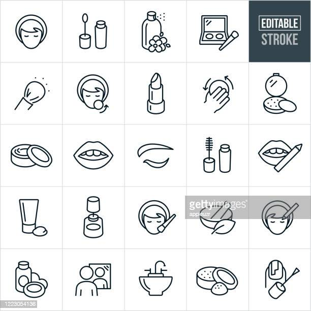 kosmetik dünne linie icons - editierbare strich - schönheit stock-grafiken, -clipart, -cartoons und -symbole