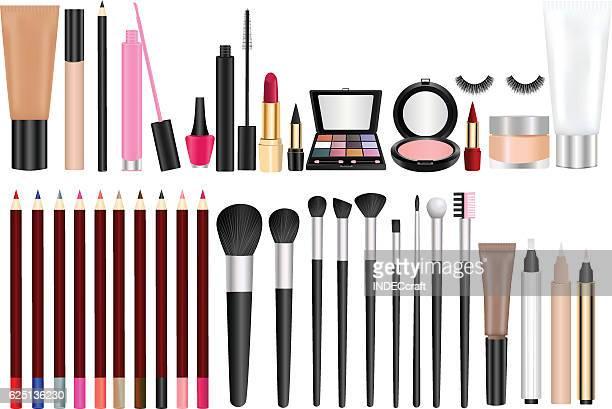 ilustraciones, imágenes clip art, dibujos animados e iconos de stock de productos cosméticos - maquillaje para ojos