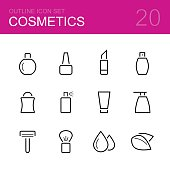 Cosmetics vector outline icon set