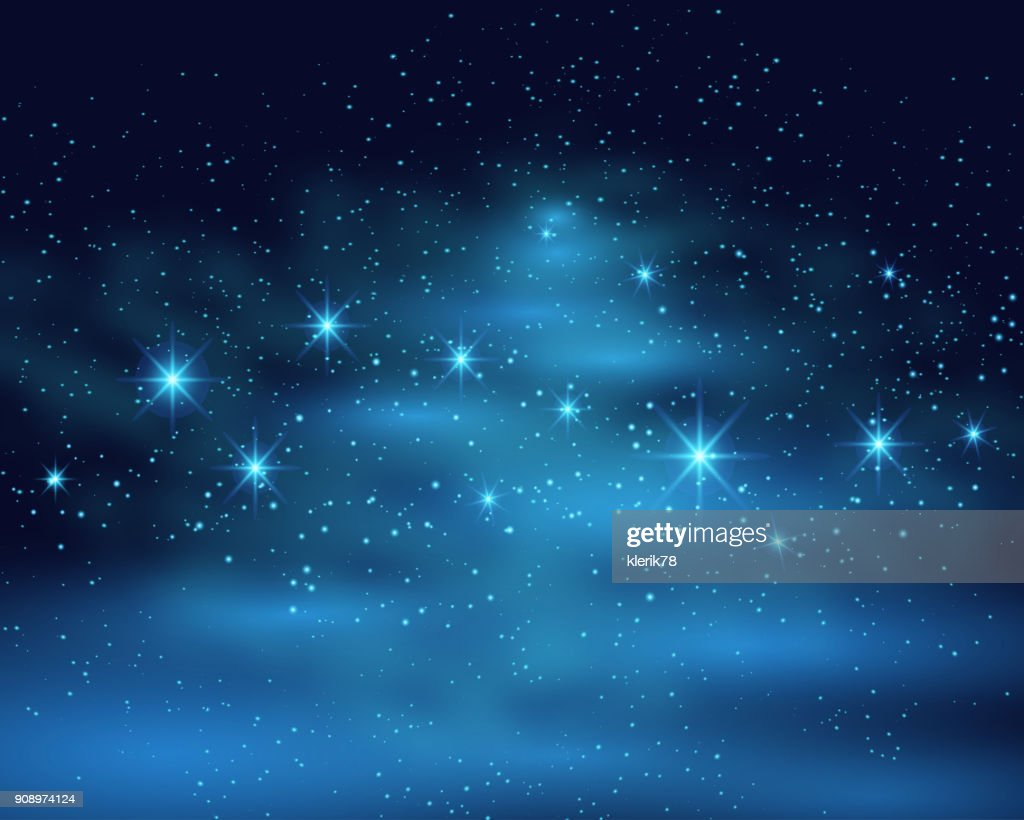 Cosmic space dark sky background with blue bright shining stars nebula at night vector illustration