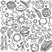 Cosmos space hand-drawn doodle icon set