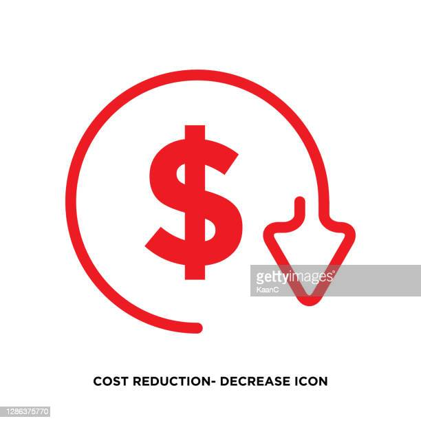 cost reduction- decrease icon. vector symbol image isolated on background stock illustration - store sign stock illustrations