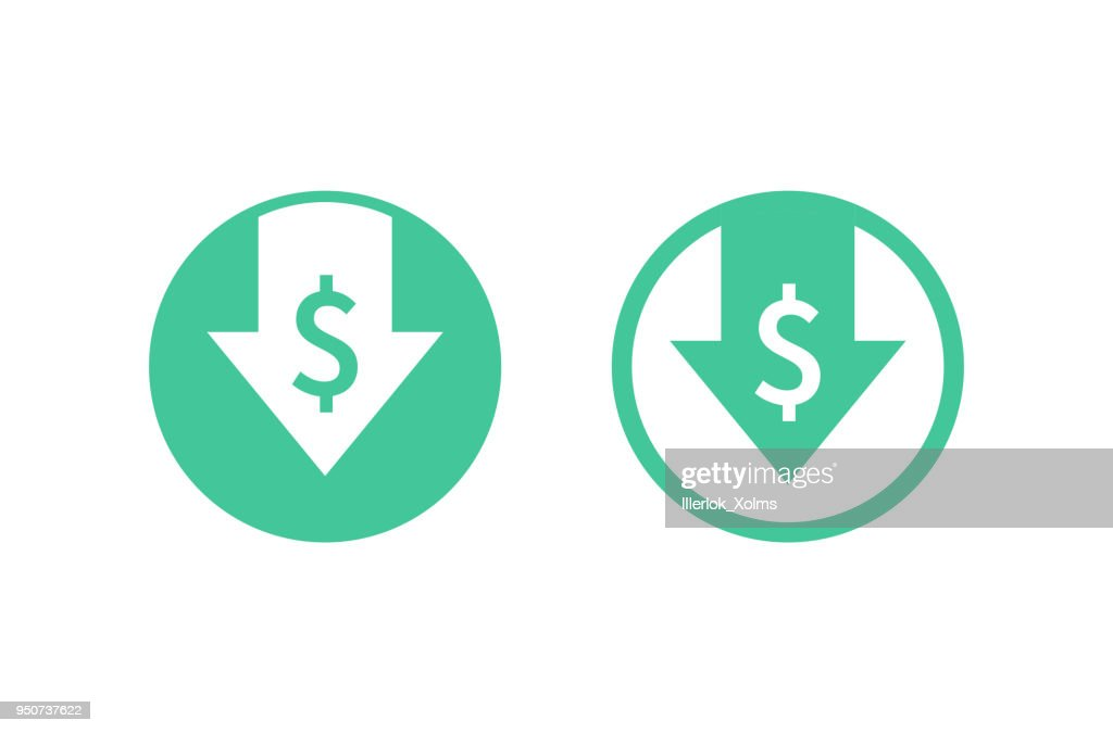 Cost reduction icon. Image isolated on white background. Vector illustration.