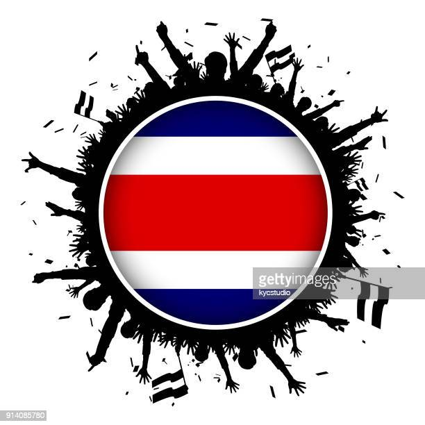 costa rica button flag with soccer fans 2018 - costa rica stock illustrations, clip art, cartoons, & icons