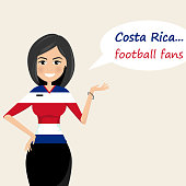 Costa Rica football fans.Cheerful soccer fans, sports images.Young woman,Pretty girl sign.Happy fans are cheering for their team.Vector illustration