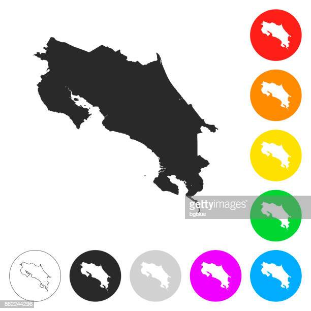 costa rica map - flat icons on different color buttons - costa rica stock illustrations, clip art, cartoons, & icons