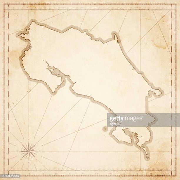 costa rica map in retro vintage style - old textured paper - costa rica stock illustrations, clip art, cartoons, & icons