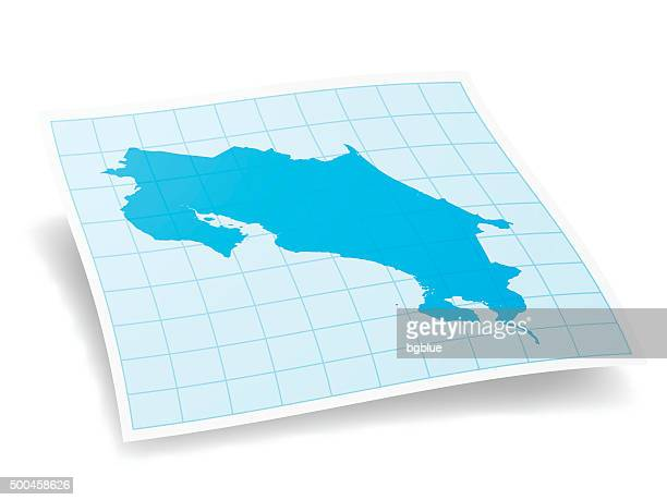 costa rica map isolated on white background - costa rica stock illustrations, clip art, cartoons, & icons