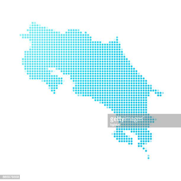 costa rica map of blue dots on white background - costa rica stock illustrations, clip art, cartoons, & icons