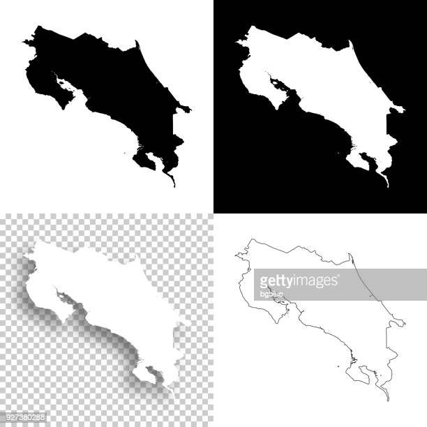 costa rica maps for design - blank, white and black backgrounds - costa rica stock illustrations, clip art, cartoons, & icons
