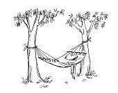 Cosy hammock in a garden. Vector line drawing