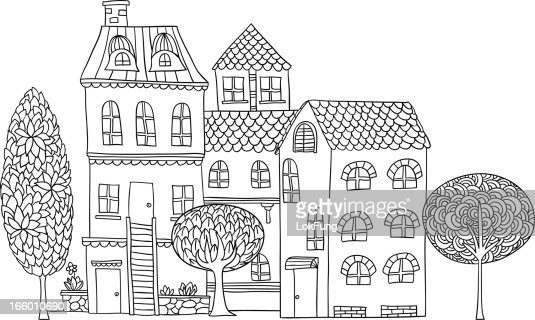 Cottage Illustration In Black And White Vector Art