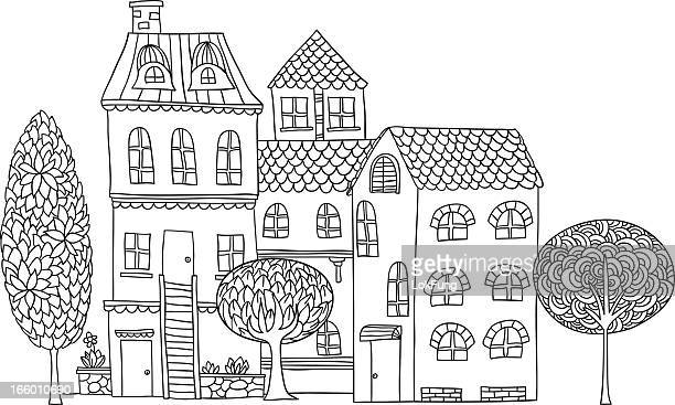 cottage illustration in black and white - bungalow stock illustrations, clip art, cartoons, & icons