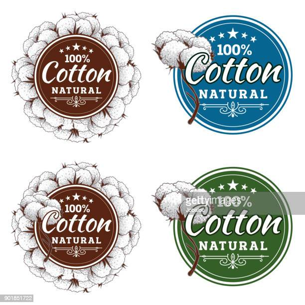 cotton badge frame - cotton stock illustrations, clip art, cartoons, & icons