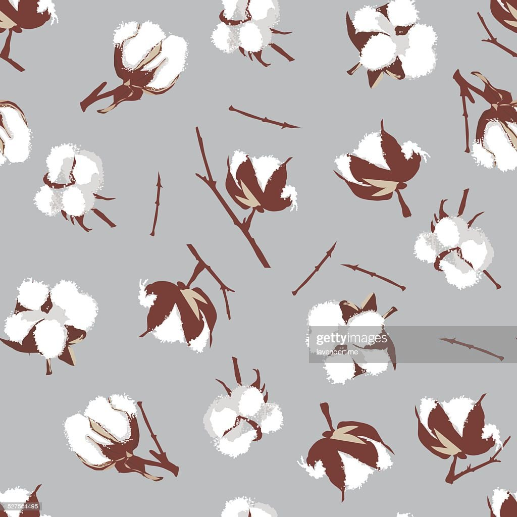Cotton bolls gray seamless vector pattern, EPS10 file
