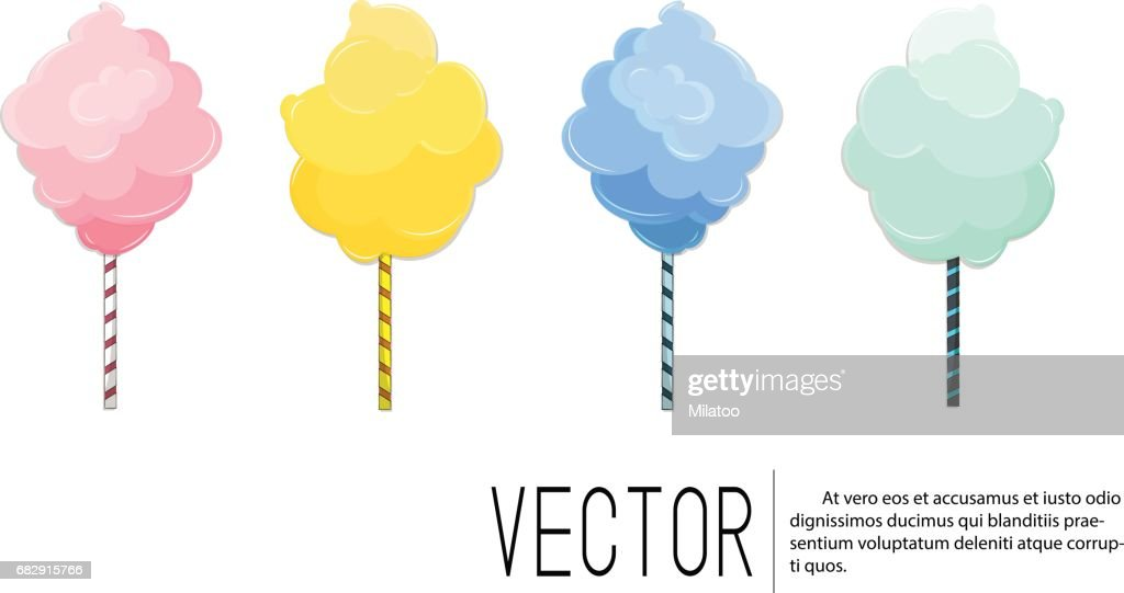 Cotton candy sweet dessert in vector. Snack food with sugar for kid. Pink fluffy cotton cloud on stick. Tasty lunch on vacation. Cute summer illustration